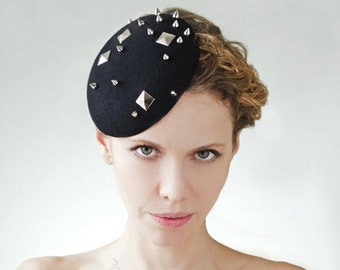 Black Studded Fascinator Mini Spiked Cocktail Hat Metal Studs Rivet Headpiece Fashion Felt Hair Piece Pin Up