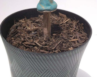 Turquoise and Gold Mushroom Garden Stake