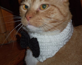 Hand Knitted Large Dog Collar tuxedo holiday by KnitsbyLE on Etsy