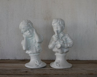 Vintage Boy & Girl Statues