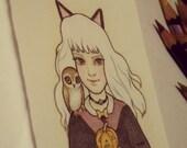 Halloweenie original mini drawing by Lilly Piri