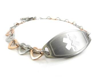 Medical ID Bracelet, Rose Gold & Silver Heart, Stainless Steel, White - i1C-B12