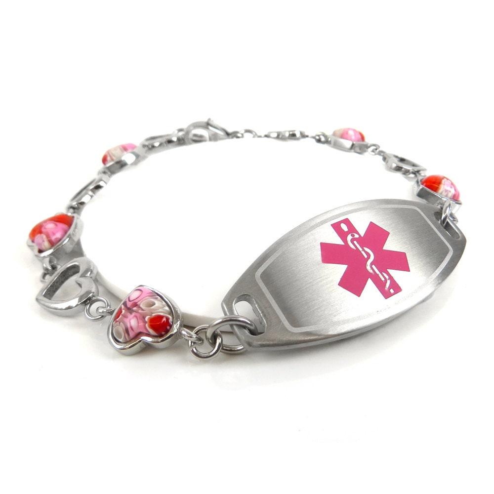 Womens Medical Alert Bracelet Engraved Pink By