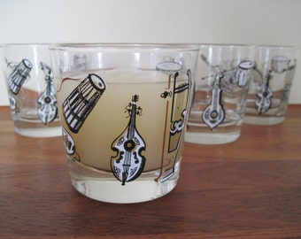 big band, vintage 1950s black, white, and gold MCM tumbler Glasses - set of 4 - musical instruments, Libbey,  orchestra, classical music,