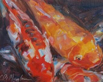 Koi, Fish Painting, Tropical Fish, Fish pond, Orange, zoo art, Carp, Colorful Fish, Japanese art, Original oil, Colorful fish, 5x7 painting