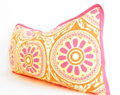 Pink Pillow Covers, Lumbar Pillow, Pink and Orange Bolsters, Orange Pillows, Bohemian Decor, Pillow with medallion print
