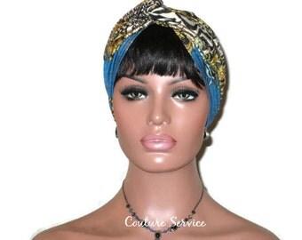 Teal Turban, Gold Shimmer Foil, Women's Handmade Fashion, Twist, Zebra, Hat, Festive