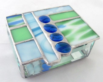 Royal Blue |  Pale Blue | Mint Green | Spring Green Hand Crafted Geometric Stained Glass Box with Glass nuggets