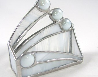 Wispy Opaque Clear White Stained Glass Business Card Holder