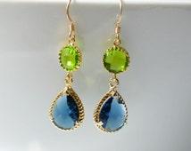 Bezel set Peacock Blue and Apple green teardrop gold dangle Earrings, Bridesmaid, Peacock Theme Wedding,Bridal, Sapphire Crystal Glass