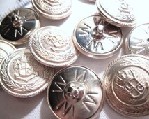 Vintage Silver Tone Bi-Metal Brass Shank Buttons 7/8  Inch Diameter