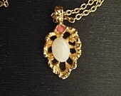 Vintage Necklace Ruby and Opal Necklace