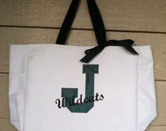 School Tote Bag with Varsity Letter - Great for anyone wanting to show off their school spirit