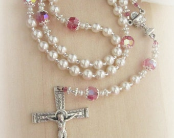 Elegant First Communion Pearl & Swarovski Birthstone Crystal Personalized Rosary