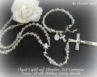 Girl's First Communion Pearl Rhinestone and Crystal Rosary Set Includes Rosary and Matching Rosary Bracelet