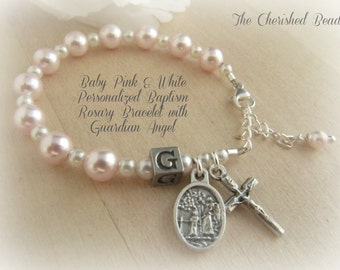 Catholic Baby Baptism Personalized Light Rose Pink & White Pearl Rosary Bracelet with Guardian Angel