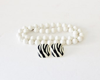 Vintage White Necklace with Zebra Stiped  Earrings - animal print, 1980s, costume jewelry 10 Dollar Sale