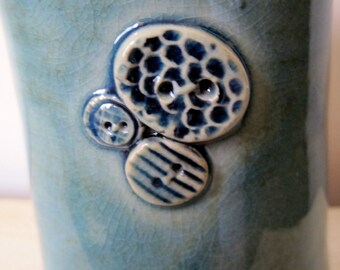 Handmade Stoneware Button Cluster Tumbler for the Seamstress' Delight