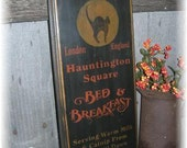 Black Cat Bed & Breakfast, Primitive, Folkart, wall sign