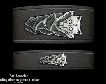 Bat Leather Bracelet Sterling Silver Bat on Leather Bracelet