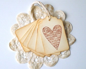 Love, Love, Love Gift Tags, Wedding Wish Tags, Shower Tags, Valentine Tags