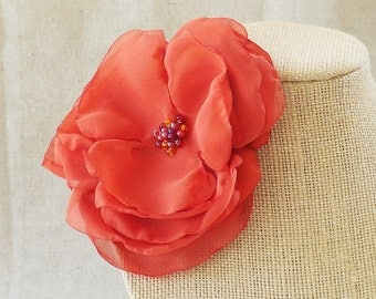 Flower Brooch in Paprika Satin and Chiffon