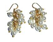 White Pearl Earrings, Gold Beaded Cluster Dangle