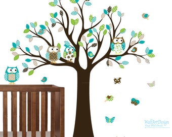 Wall Decal Tree with Owls, Butterflies, Birds - Baby Wall Decal - Nursery Wall Decal