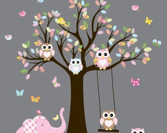 Wall Decals Nursery. Tree Decal. Wall Decal Tree. Tree and owls decals. Nursery wall decal. baby tree decal