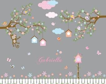Branch wall decal Baby girl nursery tree branch decal flowers birds wall decal sticker custom name