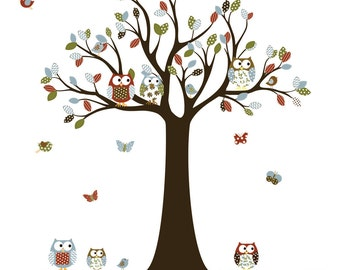 Nursery Wall Decals, Baby Wall Decal, Children Wall Decal, Wall Decals Nursery, Owl Decal