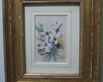 pretty miniature gold framed watercolor painting of flower bouquet