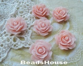 696-00- CA 6pcs (20mm) Beautiful Roses Cabochon - Peach Pink