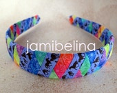 ONE INCH WIDE Brown Horses on Purple with TieDye- Striped Woven Headband
