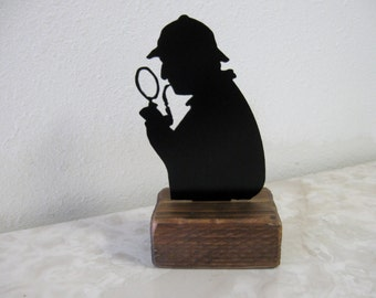 Detective Investigator Paperweight or Shelf Decoration Reclaimed Wood.