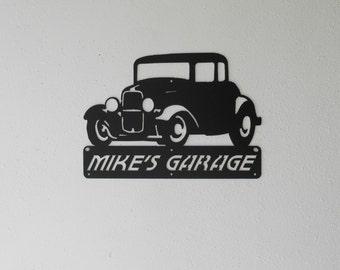 1932 Ford 5 Window / Man Cave / Hot Rod / Personalized / Classic car / Garage Sign / Black / Metal Art / Wall decor / Dads garage / Car Art
