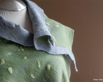 Green Gray felted scarf textured nuno silk felting wool light OOAK