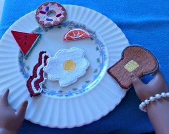 Doll breakfast food, machine embroidery, In The Hoop, for dolls 14 - 20 inches tall, American Girl, Hearts for Hearts Girls, lady dolls