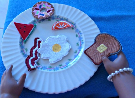 Doll breakfast food machine embroidery in the hoop for