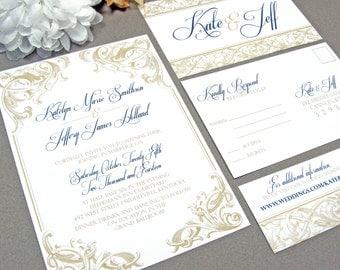 Royal Victorian Scroll Wedding Invitation Set By RunkPock Designs : Modern  Script Calligraphy Swirl Design Shown