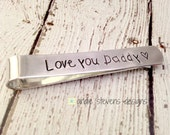 Father's Day Personalized Tie Bar Clip for Mens Neckties Hand Stamped Gift from Kids Children's names Kids writing print font