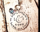Personalized Wedding Gift - Bridal bouquet charm - hand stamped personalized custom wedding gift couples gift date initials something blue