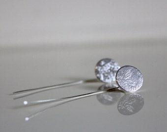 Faded Memories Etch Sterling Silver Stem Earrings - Handmade