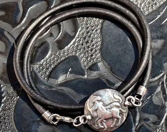 Horse jewelry - Mare and Foal bracelet  - Fine Silver and leather