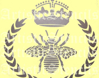 STENCIL Queen Bee Wreath with Crown No 2 8x8
