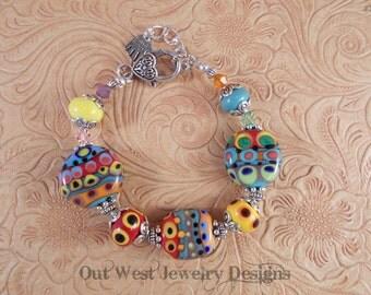 Hand Torched Lampwork Bead Bracelet No. 32 - Fiesta colors - SRAJD