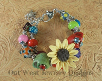 Chunky Day of the Dead Bracelet with Howlite Turquoise Sugar Skulls and Lampwork No. 170