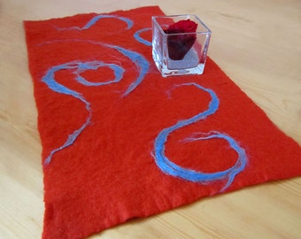 felted table runner -Little Red Cap-