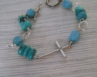 Turquoise and  Sterling Silver Cross Bracelet