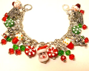 Christmas Bracelet Santa Claus Artisan Lampwork Glass Beads, Red and Green Swarovski Crystals, Charm Bracelet Gift Christmas Jewelry #4 OOAK